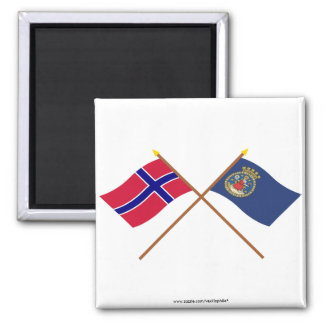 Crossed flags of Norway and Oslo Magnet