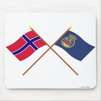 Crossed flags of Norway and Oslo Mouse Pad