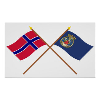 Crossed flags of Norway and Oslo Poster