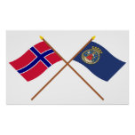 Crossed flags of Norway and Oslo Posters