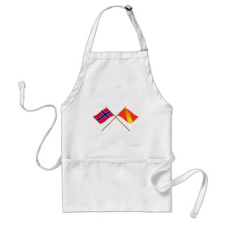 Crossed flags of Norway and Østfold Adult Apron