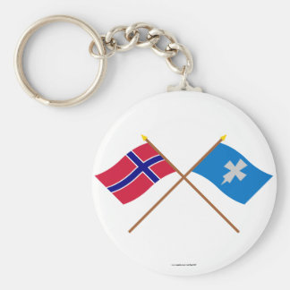 Crossed flags of Norway and Rogaland Keychain
