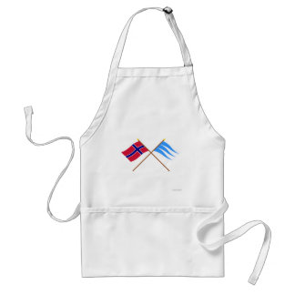 Crossed flags of Norway and Sogn og Fjordane Adult Apron