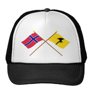 Crossed flags of Norway and Telemark Trucker Hats
