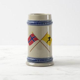 Crossed flags of Norway and Telemark 18 Oz Beer Stein
