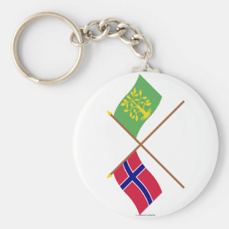 Crossed flags of Norway and Vest-Agder Keychain