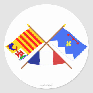 Crossed flags of PACA and Alpes-de-Haute-Provence Classic Round Sticker