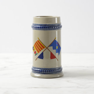 Crossed flags of PACA and Alpes-de-Haute-Provence 18 Oz Beer Stein