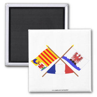 Crossed flags of PACA and Alpes-Maritimes 2 Inch Square Magnet