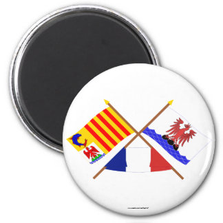 Crossed flags of PACA and Alpes-Maritimes 2 Inch Round Magnet