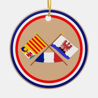 Crossed flags of PACA and Alpes-Maritimes Double-Sided Ceramic Round Christmas Ornament