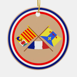 Crossed flags of PACA and Bouches-du-Rhône Double-Sided Ceramic Round Christmas Ornament