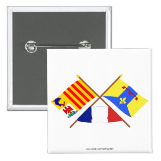 Crossed flags of PACA and Bouches-du-Rhône Pinback Button
