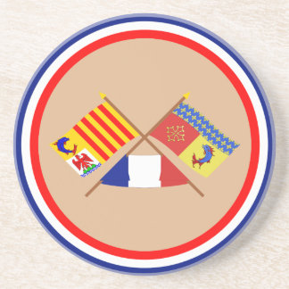 Crossed flags of PACA and Hautes-Alpes Drink Coasters