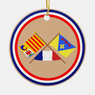 Crossed flags of PACA and Var Double-Sided Ceramic Round Christmas Ornament