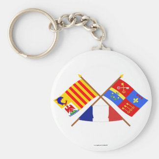 Crossed flags of PACA and Vaucluse Basic Round Button Keychain