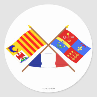 Crossed flags of PACA and Vaucluse Classic Round Sticker