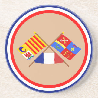 Crossed flags of PACA and Vaucluse Beverage Coaster