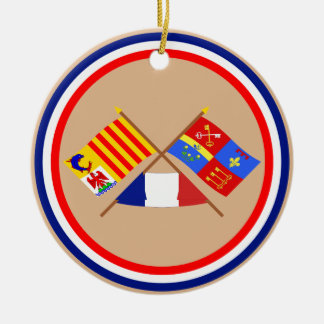 Crossed flags of PACA and Vaucluse Double-Sided Ceramic Round Christmas Ornament