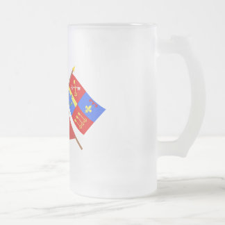 Crossed flags of PACA and Vaucluse Frosted Glass Beer Mug