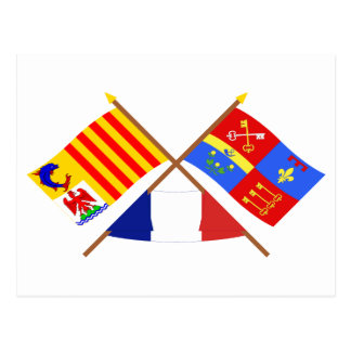 Crossed flags of PACA and Vaucluse Postcard