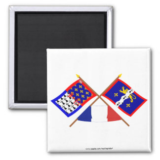 Crossed flags of Pays-de-la-Loire and Mayenne 2 Inch Square Magnet