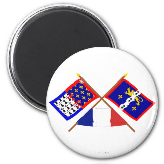 Crossed flags of Pays-de-la-Loire and Mayenne Refrigerator Magnet