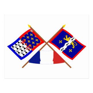 Crossed flags of Pays-de-la-Loire and Mayenne Postcard
