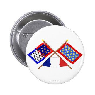 Crossed flags of Pays-de-la-Loire and Sarthe Pinback Button