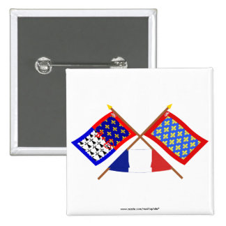 Crossed flags of Pays-de-la-Loire and Sarthe Button