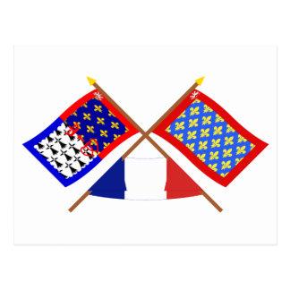 Crossed flags of Pays-de-la-Loire and Sarthe Postcard