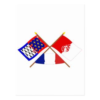 Crossed flags of Pays-de-la-Loire and Vendée Postcard
