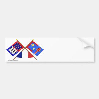 Crossed flags of Pays-de-la-Loire & Maine-et-Loire Car Bumper Sticker