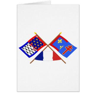 Crossed flags of Pays-de-la-Loire & Maine-et-Loire Card