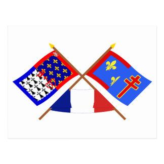 Crossed flags of Pays-de-la-Loire & Maine-et-Loire Postcard