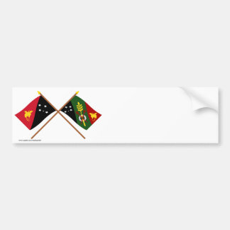 Crossed flags of PNG and Chimbu Province Bumper Stickers
