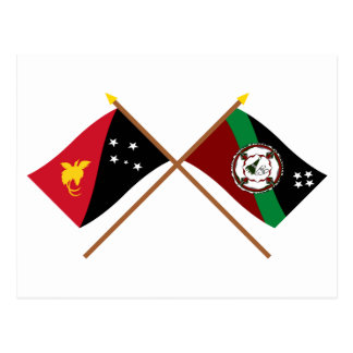 Crossed flags of PNG and East New Britain Province Postcard