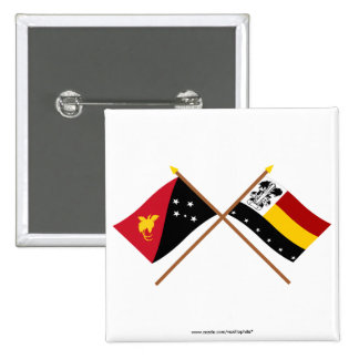 Crossed flags of PNG and Madang Province Pinback Button