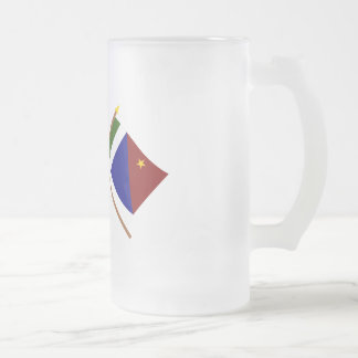 Crossed flags of PNG and Milne Bay Province Frosted Glass Beer Mug