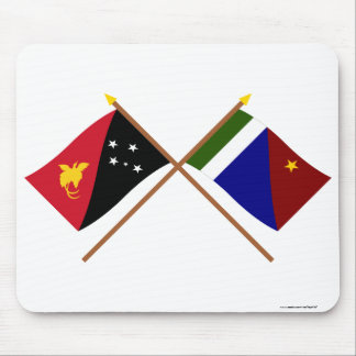 Crossed flags of PNG and Milne Bay Province Mouse Pad