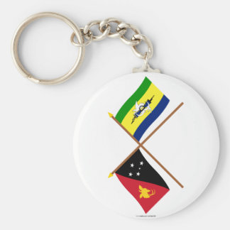 Crossed flags of PNG and Morobe Province Keychain