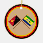 Crossed flags of PNG and Morobe Province Christmas Ornaments
