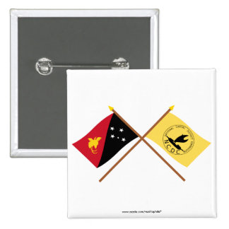 Crossed flags of PNG and National Capitol District Pinback Button