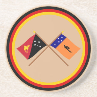 Crossed flags of PNG and New Ireland Province Drink Coasters