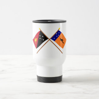 Crossed flags of PNG and New Ireland Province 15 Oz Stainless Steel Travel Mug