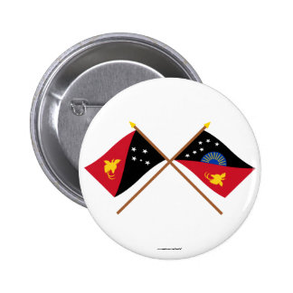 Crossed flags of PNG and West Sepik Province Button