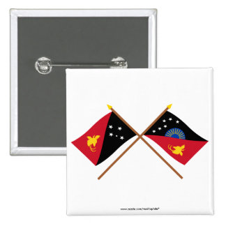 Crossed flags of PNG and West Sepik Province Pinback Button