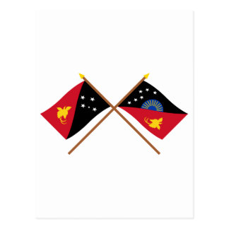 Crossed flags of PNG and West Sepik Province Postcard