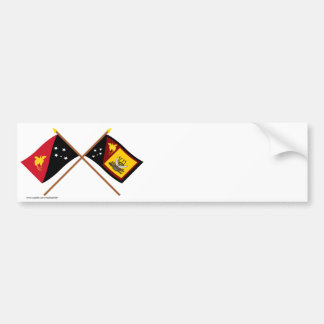 Crossed flags of PNG and Western Province Bumper Sticker