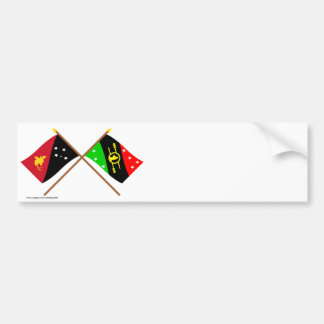 Crossed flags of PNG & Southern Highlands Province Bumper Sticker